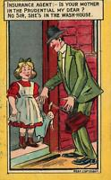 1911 VINTAGE ENGLAND COMIC PRUDENTIAL INSURANCE AGENT ADVERTISING POSTCARD