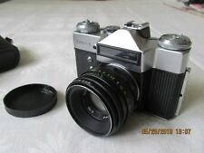 NEW VINTAGE  FILM CAMERA ZENIT-E LENS HELIOS-44-2 W/LEATHER CASE MADE IN USSR