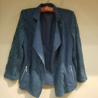 Chico's Women's Floral Lace Cardigan Long Sleeve Open Front Pockets Blue Sz 1