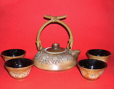 Malaysia Handicraft Tenmoko Pottery - Teapot And Four Bowls Individually Stamped