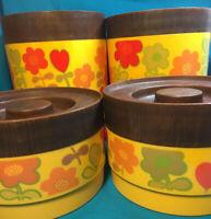 Vintage 70's Alladinware Stackable Plastic Canisters 4 Piece Set Mod Gold