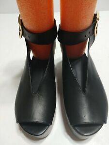 EUC TIBI Platform Leather Sandals Shoes Strappy Black EU 36 US 5.5 - 6 $445