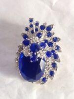 Royal Sapphire Blue Diamante Brooch Wedding Cake Bouquet decoration