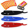 3Pcs Barber Hair Shaving Razor Kit Safety Straight Edge Pocket Knife + 10 Blades