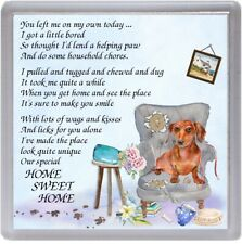 """Dachshund (Red) Dog Coaster """"HOME SWEET HOME Poem .."""" Novelty Gift by Starprint"""