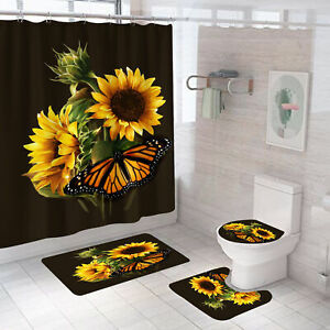 Waterproof Sunflower Shower Curtain Bathroom Toilet Seat Mat Cover Rugs 1/3/4Pcs