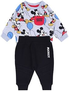 Grey Sweatshirt & Black Bottoms Tracksuit Set For Baby Boys MICKEY MOUSE DIS