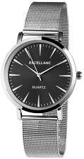 Excellanc Damen Armbanduhr Mesharmband Mesh Armband Uhr Milanaise Look Silver