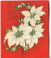 VINTAGE CHRISTMAS CHRISTMAS WHITE POINSETTIA MISTLETOE FLOCKED GREETING CARD