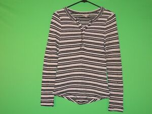 Lucky Brand Womens Size S Small Striped Long Slv Half Button Shirt / Top