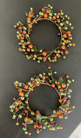 Set Of 2 Fall Autumn Thanksgiving Berry Wreaths