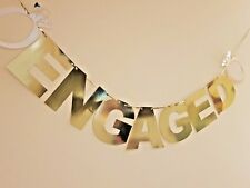 ENGAGEMENT PARTY DECORATIONS. ENGAGED BANNER BUNTING WITH RINGS. GARLAND GOLD