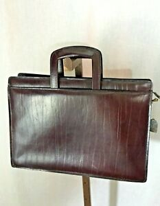 Burgundy Leather briefcase with strap, & retractable handles, (#1131)