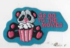 Girl Scouts Embroidered Badge Fun Patch Badge~GS Go to the Movies Panda Popcorn