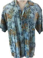 Joe Marlin mens Hawaiian shirt size XL 46 48 blue floral 1 pocket short sleeve