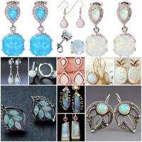 Fashion Women 925 Silver Opal Dangle Drop Earrings Ear Hook Stud Jewelry Gift