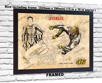 Valentino Rossi no signed da Vinci Sketch Art print patent photo poster FRAMED