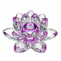 PURPLE CRYSTAL LOTUS FLOWER ORNAMENT WITH GIFT BOX  CRYSTOCRAFT HOME DECOR