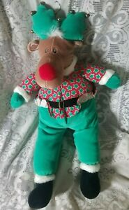 "May Department Store 26"" Reindeer Christmas Plush Bells Stuffed Animal Toy"