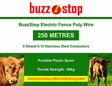 Electric Fence Poly Wire 250m on Plastic Spool, 6 Strand - High Quality