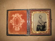 "Antique Tintype Of Little Child In Wood Case Clear Tinted Image 2 1/4"" x 2 3/4"""