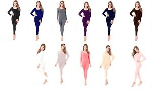 Womens Fleece Thermal Top & Bottom Underwear Set Soft Microfiber Warm Long S-2XL