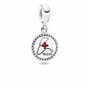 Genuine Pandora Nurse Stethoscope  Dangle Sterling Silver Charm  ENG791169_45