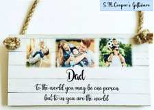 PERSONALISED FATHER'S DAY GIFT photo block plaque custom quote text DAD STEPDAD
