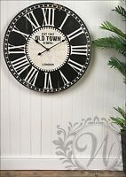 Wall Clock French Vintage Roman Numeral Old Town London 80cm Large Wooden
