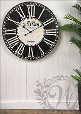 Reloj de Pared Francés Vintage número romano Old Town London 80 Cm Grande De Madera