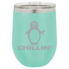 Stemless Wine Tumbler Coffee Travel Mug Glass Insulated Chillin Penguin Funny