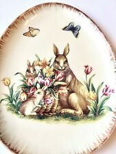 Egg Shaped Serving Dish, Ceramic With Rabbit and Floral Decoration, Free Ship!