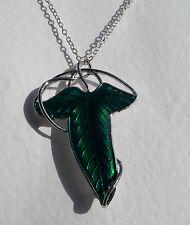 BELLISSIMO Stile Art Nouveau in smalto verde Leaf Spilla/Ciondolo Argento Placcato