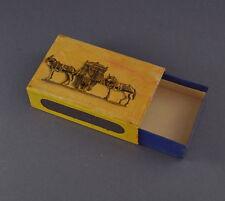 ALT! Lithographierte Streichholzschachtel aus Blech - Pferde mit Sänfte (# 7520)