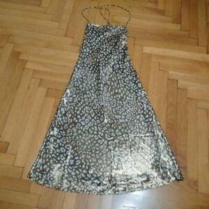 new ZARA animal print gold satin slip midi dress,camisole style,flowing,lined,L