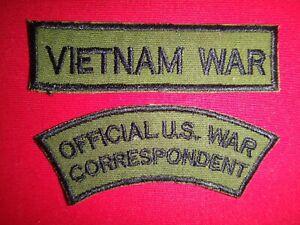 2 VIETNAM War Subdued Patches: VIETNAM war + OFFICIAL U.S. war CORRESPONDENT