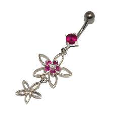 Piercing de nombril en argent massif 925 fleur pendant cristal rose bijou