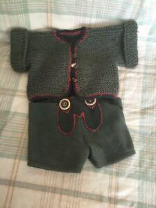 "Teddy Bear or Doll Quality Green Sweater with Lederhosen Shorts 14-18"" size"