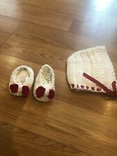 """Handmade Knitted Bootie & Bonnet - red/white 3-6 Months - Heel To Heel 4"""""""
