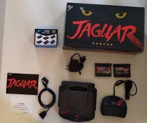 Atari Jaguar 64-bit console + 2 games, cables/adaptors, working AND MINT!