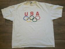 VTG USA Olympics White Graphic T Shirt Hanes XL Single Stitch