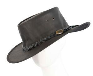 Black Jacaru Buffalo Leather Australian Outback Hat Made in Australia