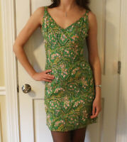 Vintage 1960s Beaded & Sequin Green, Pink, Blue Floral Lillie Rubin Wiggle Dress
