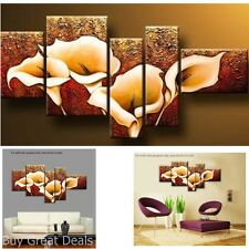 Wall Art Decor 5Pc Lily Stretch Framed Modern Oil Hand Painted Canvas Ready Hang