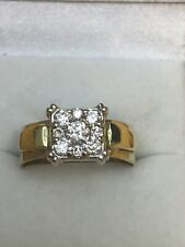 Diamond Engagement Band Ring 14k Two Tone Gold Size 9