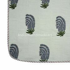 White Boota Print Warm Kantha Quilt Pure 100% Filled Cotton Jaipuri Queen size