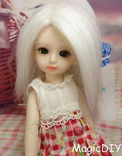 "5-6"" 14cm BJD doll fabric fur wig Pure White wig bjd hair for 1/8 bjd dolls"