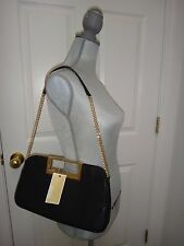 MICHAEL KORS  BERKELEY CLUTCH~BLACK REAL LEATHER GOLD TONE HARDWARE~30T5GBKC3L