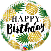 "BIRTHDAY GOLDEN PINEAPPLE FOIL BALLOON 18"" BIRTHDAY PARTY SUPPLIES"