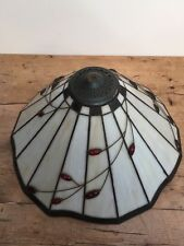 "PRELOVED STAINED GLASS LARGE CEILING / LAMP SHADE 17"" W X 10"" TALL"